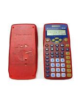 TI-10 Texas Instruments Elementary school Calculator Transparent Red Case READ!
