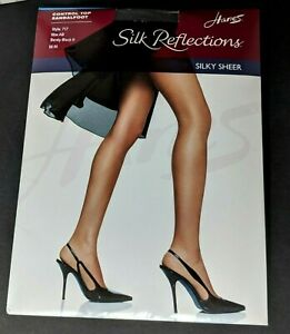 Silk Reflections 3 Pkg Silky Sheer Control Top 2 Non 1 Sandalfoot Black Size AB