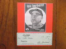 LOU   BERBERET(Died in 2004)  Signed   PERSONAL  CHECK   w/8X10   Display