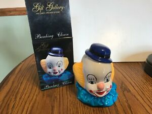 Clown Bank, ceramic, new, colorful, cloth collar