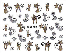 Nail Art 3D Glitter Decal Stickers Cat Kitten Silver & Gold Paw Prints BLE879D
