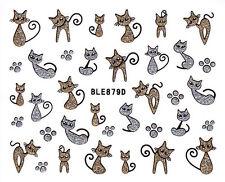 Nail Art 3D Glitter Decal Stickers Cat Kitten Silver & Gold Paw Prints BLE879D
