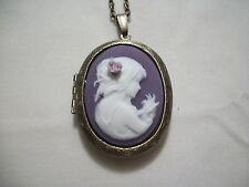 NECKLACE PENDANT 30 x 40mm LADY W/ FLOWER RESIN CAMEO PICTURE LOCKET BRONZE TONE