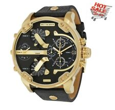 NEW DIESEL MR. DADDY DZ7371 2.0 57mm CASE BLACK LEATHER STRAP GOLD MENS WATCH UK