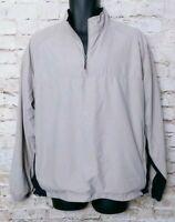 PGA Tour Pullover Golf Jacket Khaki Men Medium Reflector Windbreaker Long Sleeve