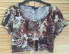 URBAN RENEWAL TOPSHOP LEOPARD FESTIVAL GRUNGE CROP TOP T SHIRT UK 6