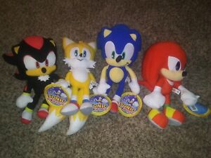 "AUTHENTIC LARGE 12"" INCH SEGA SONIC THE HEDGEHOG TAILS SHADOW KNUCKLES PLUSH SET"