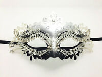 Laser Cut Metal Venetian Mask Masquerade Costume Silver Black w/Rhinestone NEW
