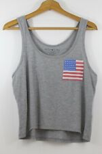 New listing Fifth Sun Womens Xl Tank Top Patriotic Usa Flag Pocket Gray Scoop Neck America