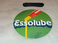 "VINTAGE ESSO ESSOLUBE MOTOR OIL 11 3/4"" PORCELAIN METAL GASOLINE SIGN PUMP PLATE"