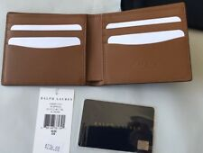 Ralph Lauren Purple Label Brown Pebbled Calf Leather Bifold Wallet Italy