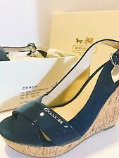 NEW COACH JESSY NAVY SIGNATURE CORK WRAPPED PLATFORM WEDGE SANDALS SHOES SZ 8M