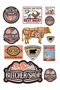 1:87 HO scale model butcher shop meat store signs