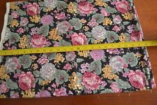 By 1/2 Yd, Floral on Black Quilting Cotton, Hoffman/Coventry Collection, N319