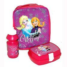 Genuine Official Disney Frozen Lunch Bag Box Set With Drink Bottle Picnic School