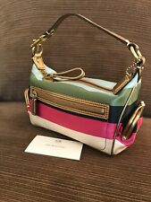 RARE Coach Legacy Stripe 40664 Mini Baguette With Kiss-Close Pockets