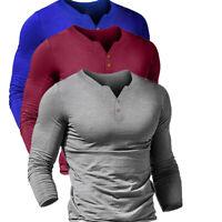 Men T-shirt Tee Shirt Top Pullover Long Sleeve Slim Fit Muscle Button Button New