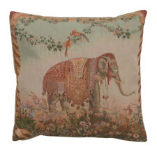 Woven French Tapestry Pillow Throw Cuhion Cover 19x19 Elephant