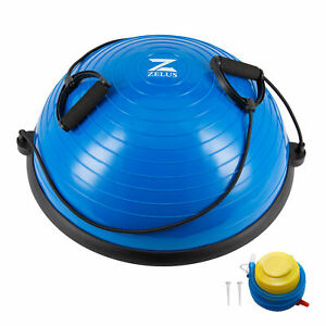 Half Balance Ball W/ Pump Yoga Pilates Fitness Gym  Wobble Board Exercise