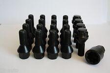 16 X M12 X 1,5 30mm Rueda de la aleación Pernos + pernos de bloqueo Negro cónico Lug Nuts