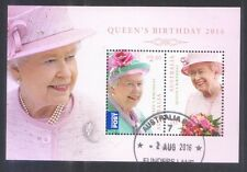 AUSTRALIA 2014 QUEEN'S BIRTHDAY SOUVENIR SHEET OF 2 STAMPS FINE USED CONDITION
