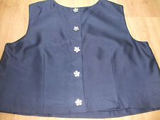 BODEN STUNNING NAVY WOOL//SLK MIX BUTTON BACK CROPPED  BLOUSE  SIZE 18 BNWOT
