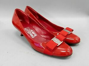 Salvatore Ferragamo Red Patent Leather Pumps w/ Bow (made in Italy) size 6.5