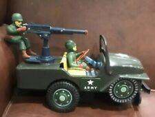 "Vintage TN Toys(Nomura Japan) Tinplate Battery Operated ""US ARMY"" Jeep Bump n Go"