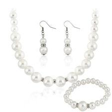 Crema Tono Argento Diamante Vetro Graduato Collana di perle Braccialetto Orecchini Set
