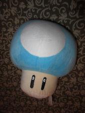 "MARIO Nintendo Plush TOAD Mushroom Stuffed Toy Blue White 10"" TALL"