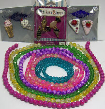 JEWELRY MAKING SUPPLIES BEADS-PENDANTS LOT~COLORFUL GLASS~CANDY SHOP~SWEETS ~PIE