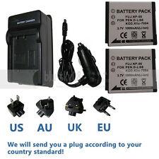 2X Battery+charger for Fuji NP-50 FUJIFILM XF1 X10 X20 XP200 Digital Cameras