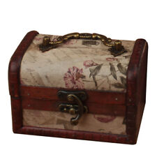 Wooden Jewelry Box Storage vintage small Treasure Chest Wood Crate Ancient Style