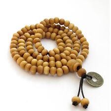 Wood Tibet Buddhist 108 Prayer Beads Mala Necklace--Elastic Cord