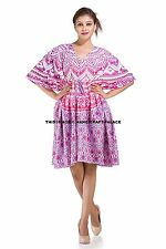 Ombre Mandala Beach Bikini Wear Cover Maxi Gown Indian Women Caftan Short Dress