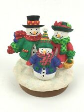 """Snowman Candle Jar Topper Snow Hats Scarf Carrot Noses Medium Round 3"""" Insert"""