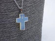 Opalite Cross Jesus Necklace Moonstone Charm Pendant Christian Christ Gift UK