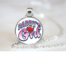 Daddy's Girl PENDANT NECKLACE Chain Glass Tibet Silver Jewellery