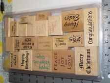 STAMPIN UP HOLIDAYS WORDS ASSORTED SET OF 22 WOOD STAMPS EUC A7254
