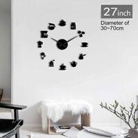 Coffee Wall Clocks Modern Designs Kitchen Watches Quartz Acrylic Mirror Stickers