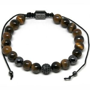 Men's Shamballa Bracelet 9mm Tiger Eye Beads with Centre Pave Bead Adjustable