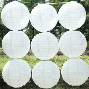 Modern White Round Paper Lanterns Lampshade Hanging Party Outdoor Arts Decor