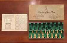 VTG Drueke Chess Set Wood Un-Weighted Number 0 in Box Complete.  Made In France