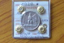 MONETA REGNO D' ITALIA AQUILOTTO 5 LIRE 1928 UNA ROSETTA RARA sigillata BB/SPL