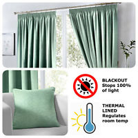 Fusion DIJON Duck Egg Blue Blackout Thermal Pencil Pleat Curtains & Cushions
