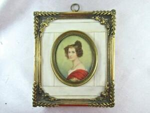 SUPERB EARLY 1800'S MINIATURE PORTRAIT LADY w/ PEARL NECKLACE & EARRINGS SIGNED