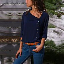 UK Women Long Sleeve Blouse Loose Tops Ladies Button Office Work Shirt Size 6-20
