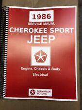 1986 Jeep Cherokee Sport Factory Service Manual 4x4 2x4 2.5 2.8 4.0 XJ