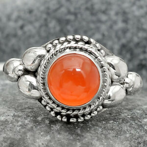 Natural Carnelian Cab 925 Sterling Silver Ring s.7 Jewelry E3064