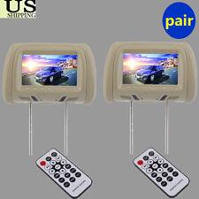 "7""inch beige TFT-LCD Car Headrest TV Monitors Auto Pillow DVD Player SD/USB New"
